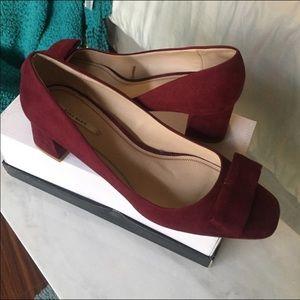 Zara Berry Red Suede Block Heels Pumps Shoes 8/8.5